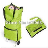 Cheap Wholesale-OP-Portable Folding Wheel Trolley Bag Travel Shopping Bag Free Shipping