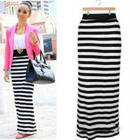 black pencil dresses - 2014 Autumn Women Black white striped long maxi dress Stretch Rayon Party Pencil long skirt DH04