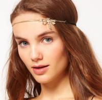 Cheap High Quality Wholesale 2014 Fashion Headwear Dragonfly Shape Hair Accessories Rhinestone Gold Chain Headbands For Women DFF-15