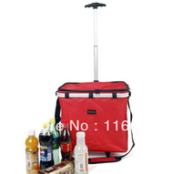 Cheap Wholesale-OP-2014 New Design Large Folding Insulated Cooler Bag w Trolley Car Easy Carrying Thermal Refrigerator 40L 2-Way Using Shopping Ba