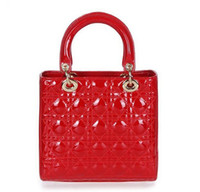 Wholesale Top quality original brand new style LADY real patent calf leather red gold women s clutch tote handbag fashion gift