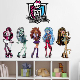 Wholesale Monster High Cartoon Wall Sticker Mural Vinyl Decal Kids Room Decor Easy Removed DH04