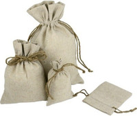 linen bags - Burlap Linen Fabric Favor Bags Drawstring Pouch Gift Wedding Jewelry Pouches
