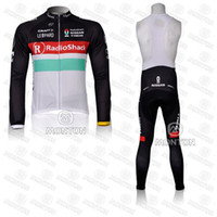 Wholesale RadioShack Team Cycling Jersey Set High Performance Breathable Long Sleeve White Shirts and Bib Pants Mens Trek Cycling Clothing