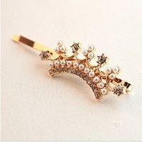 Wholesale OP On sale Vintage Fashion Sweet Girl Simulated Pearl Crown Rhinestone Hair Barrettes Hair Accessories F51