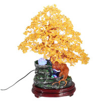 Cheap Genuine opening of natural citrine Pachira tree ornaments Lucky King home accessories resin bonsai ornaments