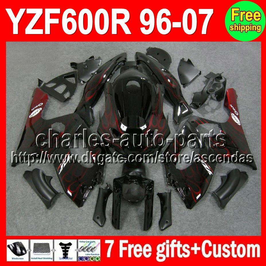 7gifts Pour YAMAHA flammes Rouges YZF600R Thundercat 96-07 C#L410 YZF 600R YZF60