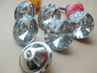 Wholesale 30mmTransparent clear Glass Crystal Upholstery buttons shining crystal rhinestone buttons Craft Accessorie scrapbooking