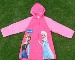 Wholesale cartoon raincoat Frozen Elsa Anna raincoat PVC raincoat children