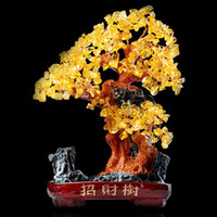 Cheap Genuine opening of natural citrine Lucky Tree Bonsai Pachira money tree ornaments largest home furnishing gifts