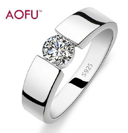 Free shipping Aofu brand925 stamp silver & 3 layers of platinum AAA grade crystal Christmas gift man & woman rings wedding ring