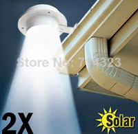 Wholesale 2 Outdoor Solar Powered LED Cool White Warm White Light Fence Gutter Garden Yard Roof Wall Lamp