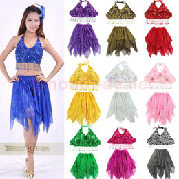 Wholesale Sexy Belly Dance Costume Sequin Bra Top Tribal Sequins Skirt Chiffon Dress Set