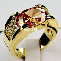 Wholesale Newest Exquisite Men Jewelry Champagne Topaz Rings KT Yellow Gold Rings Gift Box Size B0589