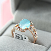 Cheap South Korea's edition opal crystal ring 18 k gold plated fashion women adorn article