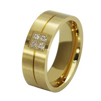 Wholesale Fashion stainless steel women and men wedding rings with rhinestones design