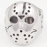 wholesale biker jewelry - Black Friday Hockey Jason Mask SKull Rings Novel Mens L Stainless Steel Jewelry ROCK Biker VR063