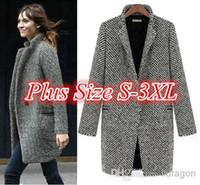 Wholesale 2014 High quality Design New Spring Winter Trench Coat Women Grey Medium Long Oversize Plus Size Warm Wool Jacket European Fashion Overcoat