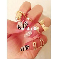 Cheap 7Pcs lot Gold Skull Bowknot Heart Nail Simple Band Midi Mid Finger Top Stacking Ring for women Diameter 13mm-14mm, JZ-040
