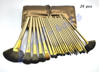 Wholesale HOT NEW Makeup Brushes Nude piece Professional Brush sets Leather cosmetic bag gift