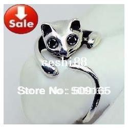 Promotion Price! 2014 Hot Sale Adjustable Cat Ring Animal Fashion Ring 10pcs Free Shipping