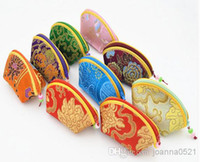 Cheap Chinese style satin brocade candy box small wallet floral coin purse gift handbags jewelry bag factory price wholesale Free Shipping