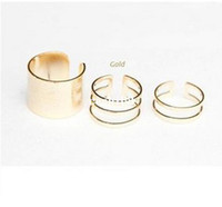 Wholesale 2014 hotest Shiny Punk Polish Gold Stack Plain Band Midi Mid Finger Knuckle Ring Set high quality Rock colors