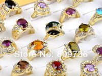 Cheap wholesale jewelry lots 20pcs 18K gold plated cz rings mulcticolor crystal wedding rings fashion rings for women Free Shipping
