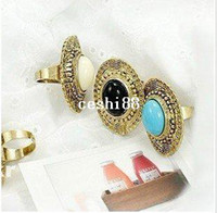 Cheap #R125 Cheap jewelry ring Rock Gothic Punk Black Stone Dome Gold Bronze Large Style Rings Vintage jewelry Wholesale