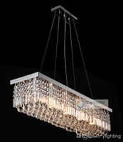 Wholesale 10 Lights L47 quot X W10 quot X H10 quot Clear Crystal Chandelier Rectangle Pendant Lamp Rain Drop Design Flush Mount LED Ceiling Lighting