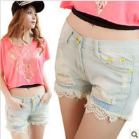 Cheap Light blue Vintage 2013 Summer Women Ripped Denim Shorts Casual Hole Hot Distressed Jeans Shorts SP3016 #2055