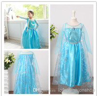 Girl Winter 100% Cotton Autumn kids Frozen Elsa Anna dress Girl's Costume dresses Children tulle Long sleeve party dress princess dress gown dress with snow Pattern