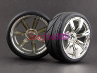 Cheap SET RC 1:10 On-Road Car Foam Rubber Speed Tyres Tires Silver Wheel rim 9025-6081