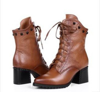 Wholesale 2015 Women s European style boots Lacing Tip Genuine Leather Help short women boots