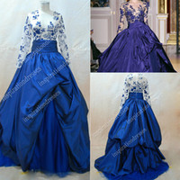Cheap 2014 Zuhair Murad Evening Dress Royal Blue Sheer Rew Applique Taffeta TulleLong Sleeves Floor-Length Ball Gown Prom Dress Real Image dhyz 04