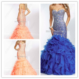 Wholesale Sweetheart Rhinestone Sequins Organza Celebrity Dress Modest Pageant Gowns China Ball Gown Corset Mermaid Prom Dresses Party Evening