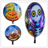 Wholesale New Good Quality Halloween Balloon Pumpkin Head Aluminium Coating Balloon Round Shape Halloween Decoration cm cm