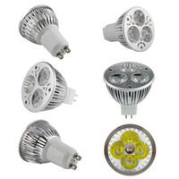 Wholesale Lm W W LED Spotlight Lamp GU10 AC85 V MR16 AC DC12V Pure Cool White K Warm White K LED Bulb