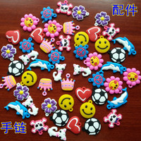 Cheap PVC pendant charms rainbow loom DIY materials small pendant rubber loom band bracelet knitting accessories