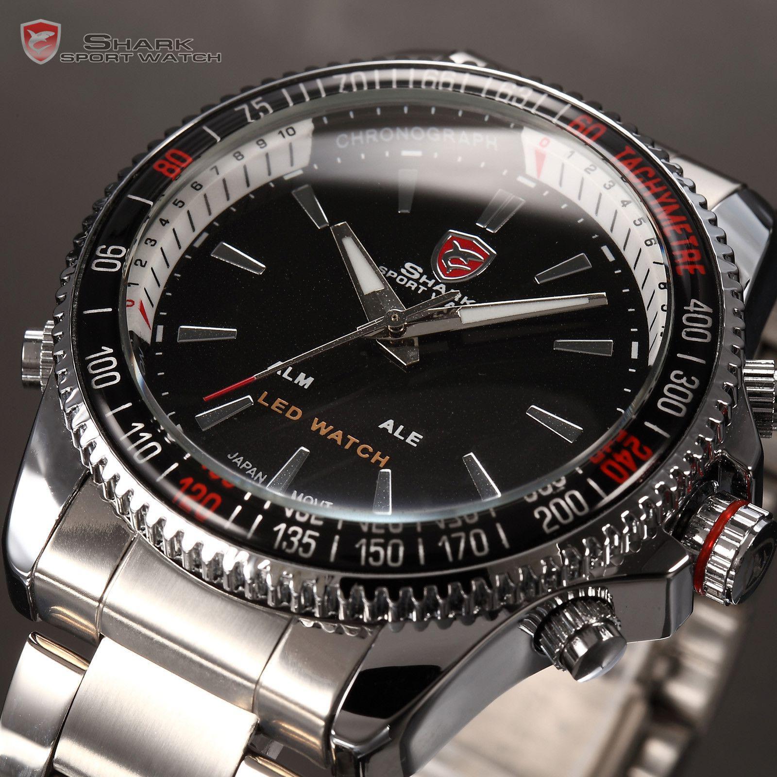whole modern watches in men s watches buy cheap modern shark digital analogy watches led silver stainless sport quartz wrist watch men watch sh003