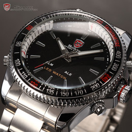 Wholesale SHARK Digital Analogy Watches LED Silver Stainless Sport Quartz Wrist Watch Men Watch SH003