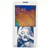 Cheap Marilyn Monroe holder and window leather case for Samsung GALAXY Note 3 N9000