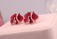 Wholesale 2015 Party dress Fashion Gold Plated Zinc Alloy Gorgeous Crystal Plant Hot Flower Wedding Party Clip Earrings for Women in Jewelry