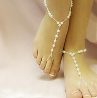 Big feet - idealway Europe Style Big Small Pearl Stretch Chain Foot Anklets Pieces
