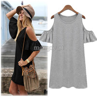 Wholesale Shirts Butterfly Sleeves - Summer Dress 2015 Woman Clothes Butterfly Sleeve Cotton Cute Strapless Dress Plus Size Novelty T Shirt Dress #005 SV001731