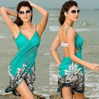 Cheap Hot Sale!!Summer Dress Women's Sexy Swimwear Floral Print Bikini Swim Suit One Piece Cover Up Bohemian Beach Dress #04 SV001019
