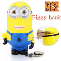 Wholesale OP Baby Kids Children gift Despicable me figure Whimsy Cartoon coin minions pvc Vinyl Money Piggy bank Collection box D Toys Robot
