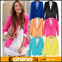 Wholesale DHL Candy Color Women European Colors sizes One Button Blazer Suit Autumn Jacket Coat