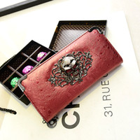 skull purses - PU new Korean female bag wave packet network personality skull clutch purse fashion casual long wallet