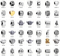 Wholesale 2014 New Mix Fashion Silver Pandora Style Charm DIY Bracelets Beads Fit European Flat Beads Loose Beads Alloy Big Hole Bead